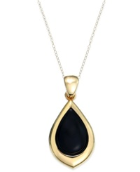 Signature Gold Onyx Teardrop Pendant Necklace In 14K Gold 8 Ct. T.W. Yellow Gold