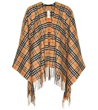 Burberry Vintage Check Cashmere And Wool Poncho Yellow