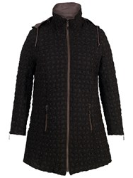 Chesca Hooded Mini Bonfire Quilted Coat Black