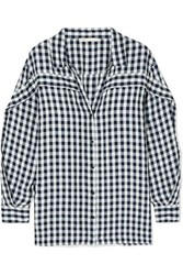 Maje Ruffled Gingham Canvas Shirt Black