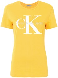 Ck Calvin Klein Jeans Logo Patch T Shirt Yellow And Orange