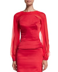 Zac Posen Pleated Long Sleeve Top Hibiscus