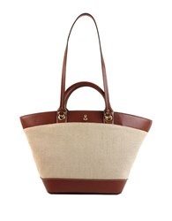 London Fog Poole Vegan Leather And Linen Tote Russet