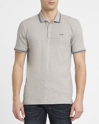 Armani Jeans Mottled Grey Cotton Pique Slim Fit Polo Shirt With Navy Trim And Chest Logo
