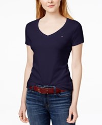 Tommy Hilfiger Cotton V Neck Flag T Shirt Only At Macy's Navy