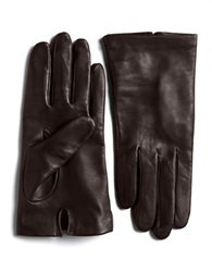 Lord And Taylor Silk Lined Leather Gloves Brown