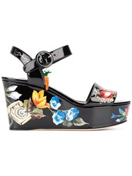 Dolce And Gabbana Romantic Wedge Sandals Black