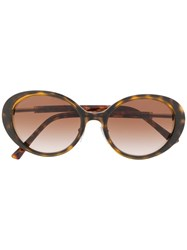 Bulgari Oval Metal And Acetate Sunglasses Brown