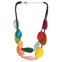 One Button Wood Discs Layered Necklace Multi