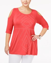 Belldini Plus Size Embellished Cold Shoulder Top Calypso Coral
