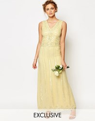 Maya Vintage Embellished Maxi Dress Pastel Yellow