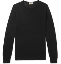 John Smedley Theon Slim Fit Sea Island Cotton And Cashmere Blend Sweater Black