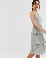 Little Mistress Lace Tiered Midi Dress In Waterlily Green