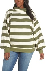 Everleigh Blouson Sleeve Rolled Neck Sweater Olive Stripe