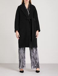 Whistles Magdelina Belted Wool Blend Wrap Coat Black