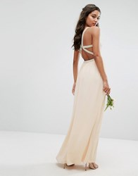 Tfnc Wedding Embellished Maxi Dress With Embellished Strappy Back Nude Pink