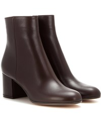 Gianvito Rossi Margaux Mid Leather Ankle Boots Brown