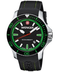 Wenger Men's Swiss Sea Force Black Silicone Rubber Strap Watch 43Mm 01.0641.108