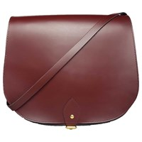 N'damus London Large Leather Oxblood Saddle Bag Red
