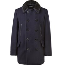 Tom Ford Shearling Trimmed Wool Blend Peacoat Blue