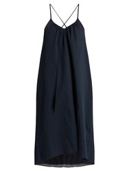 Loup Charmant Cross Back Cotton Slip Dress Navy
