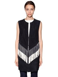 Drome Fringed And Studded Nappa Suede Vest Dark Blue