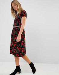 Trollied Dolly Floral Print Pencil Dress Black