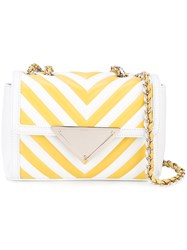 Sara Battaglia Striped Chain Strap Bag Women Silk Bos Taurus One Size White