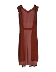 Ailanto Knee Length Dresses Maroon