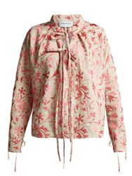 Osman Jacky Floral Embroidered Linen Top Pink Multi