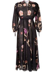 Nanushka Floral Print Midi Dress Black