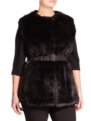 Marina Rinaldi Plus Size Gatto Faux Fur Quilted Panel Vest Black