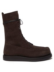 The Row Patty Lace Up Suede Boots Dark Brown