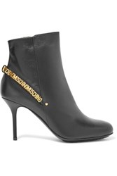 Moschino Embellished Leather Ankle Boots Black