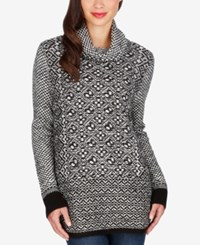 Lucky Brand Patterned Side Zip Sweater Black White