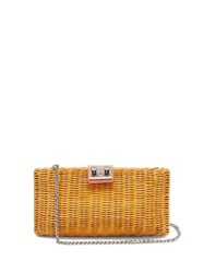Rodo Leather Trimmed Wicker Clutch Orange