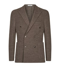 Boglioli Double Breasted Wool Jacket Beige