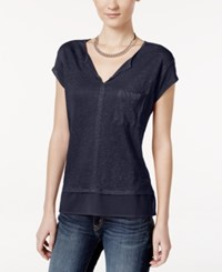 Sanctuary Short Sleeve Layered Look Top Marine