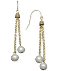 Honora Style Cultured Freshwater Pearl Rope Chain Earrings In 14K Gold 6Mm White