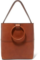 Theory Hoop Leather Tote Tan