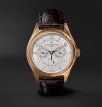 Vacheron Constantin Fiftysix Day Date Automatic 40Mm 18 Karat Pink Gold And Alligator Watch Silver