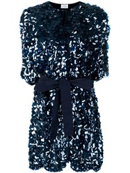 P.A.R.O.S.H. Belted Sequin Coat Blue