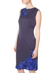 Precis Petite Embroidered Shift Dress Navy
