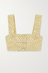 Alessandra Rich Cropped Crystal Embellished Sequined Tweed Top Yellow