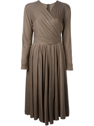 Louis Feraud Vintage Wrap Dress Brown