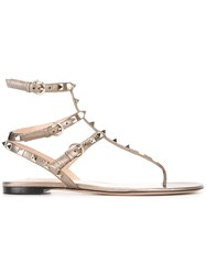 Valentino Rockstud Gladiator Sandals Metallic