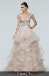 Watters Meri Embellished Strapless Layered Tulle Gown