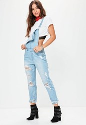 Missguided Blue Ripped Distressed Dungarees