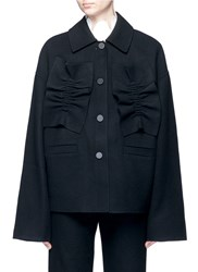 Shushu Tong Ruffle Trim Felted Virgin Wool Blend Coat Black