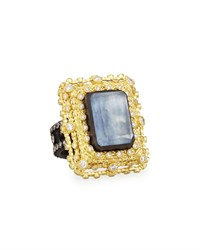 Old World Emerald Cut Quartz Kyanite And Diamond Ring Armenta Black